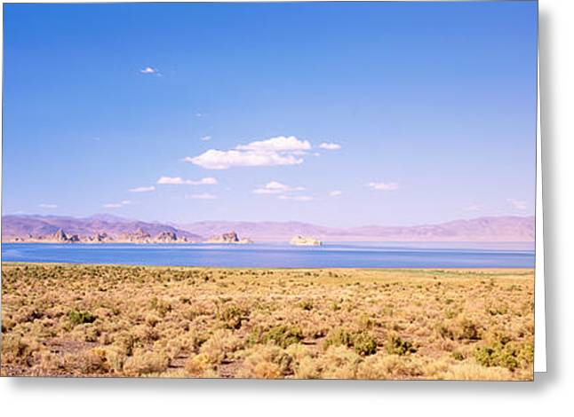 Pyramids Greeting Cards - Blue Sky Over A Lake, Pyramid Lake Greeting Card by Panoramic Images