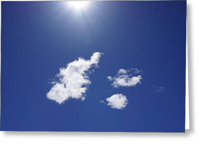 Blue Sky Sun Shining Art Prints Sun Rays White Clouds Greeting Card by Baslee Troutman