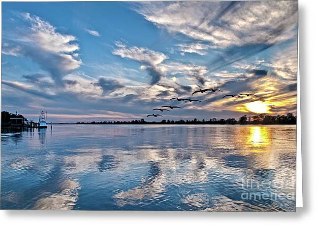 Mike Covington Greeting Cards - Blue Sky Sunset Greeting Card by Mike Covington