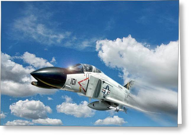 Interceptor Greeting Cards - Blue Sky Thunder Greeting Card by Peter Chilelli