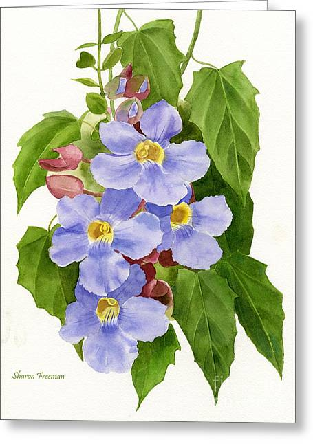 Blues Trumpet Greeting Cards - Blue Sky Vine Greeting Card by Sharon Freeman