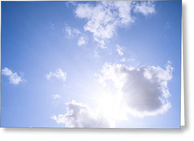 Square Format Greeting Cards - Blue sky with sun and clouds Greeting Card by Elena Elisseeva