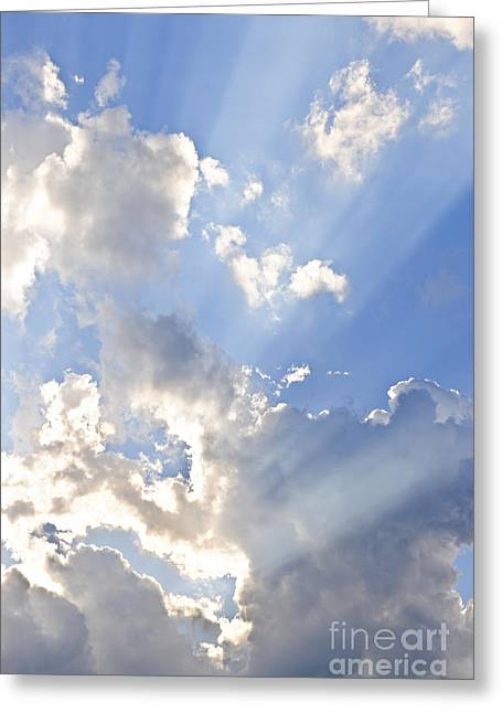 Cheerful Photographs Greeting Cards - Blue sky with sun rays Greeting Card by Elena Elisseeva