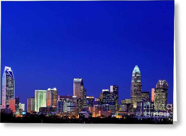 Mecklenburg County Greeting Cards - Blue skyline of Charlotte NC Greeting Card by Patrick Schneider