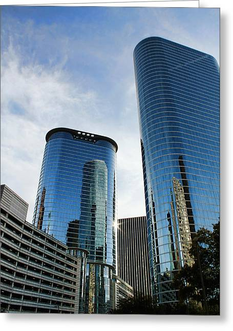 Glass Reflecting Greeting Cards - Blue Skyscrapers Greeting Card by Judy Vincent