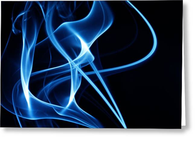 Geometric Effect Greeting Cards - Blue Smoke Abstract Greeting Card by GP Images