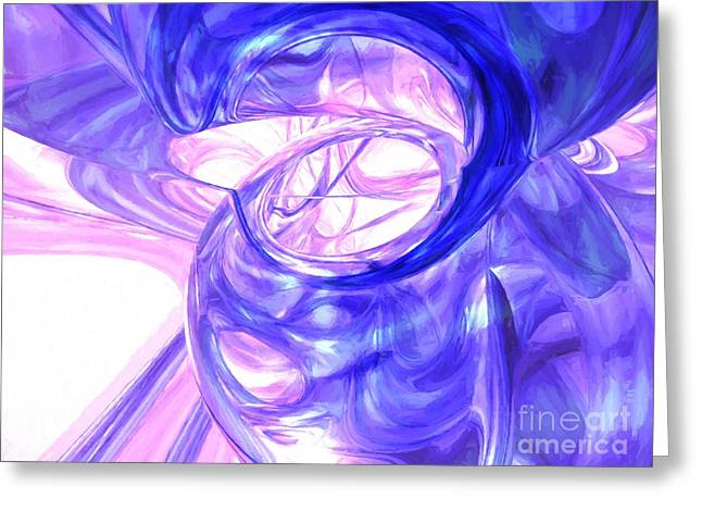 Cgi Greeting Cards - Blue Smoke Painted Abstract Greeting Card by Alexander Butler