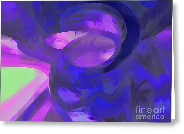 Subtle Colors Greeting Cards - Blue Smoke Pastel Abstract Greeting Card by Alexander Butler
