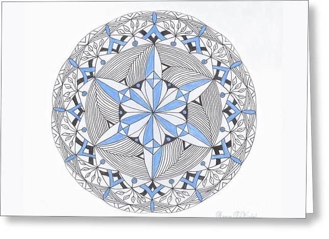 Winter Prints Drawings Greeting Cards - Blue Snow Flake Mandala Greeting Card by Nancy TeWinkel Lauren