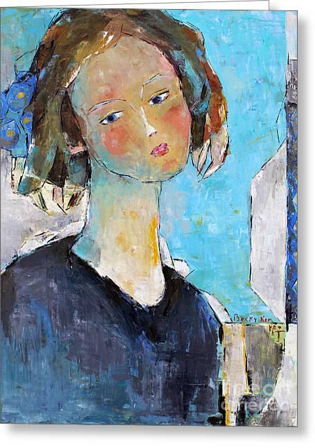 Blue Sonata Greeting Card by Becky Kim