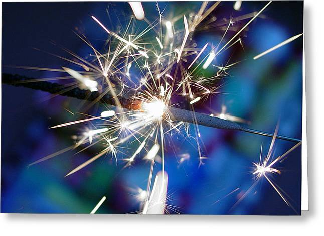 Fuegos Artificiales Greeting Cards - Blue sparks Greeting Card by Rene  Tapia