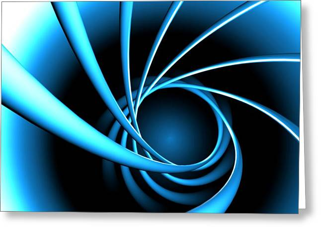 Computer Graphics Greeting Cards - Blue Spiral Greeting Card by Ryan Briscall