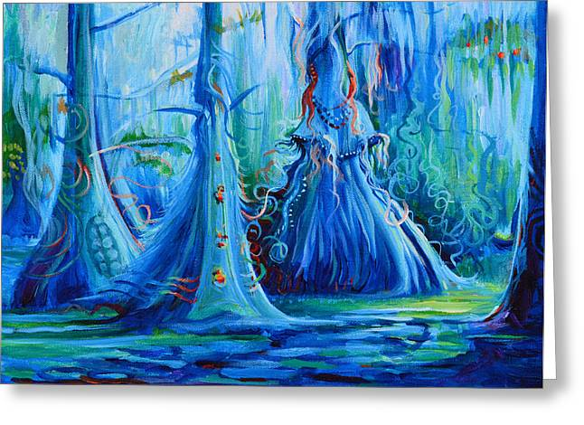 Blue Spirit Trees Greeting Card by Janet Oh