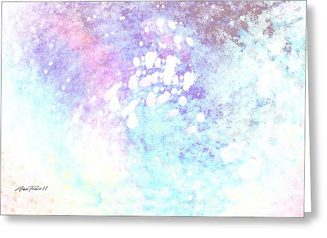 Blue And Purple Abstract Greeting Cards - Blue Splash Two Greeting Card by Ann Powell