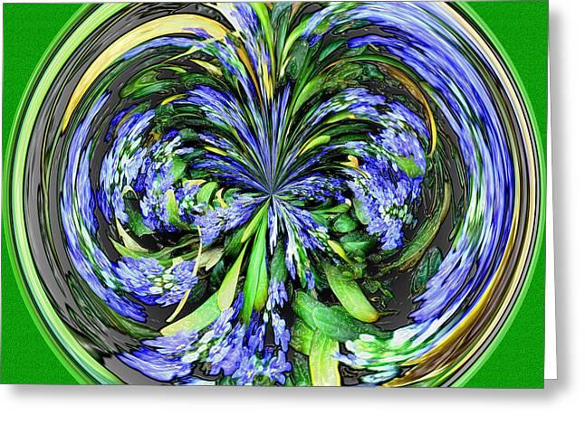 Fractal Orbs Greeting Cards - Blue Splat Orb Greeting Card by Jeff McJunkin