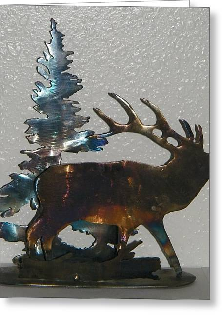 Colorado Sculptures Greeting Cards - Blue Spruce Elk Greeting Card by Dale Jackson