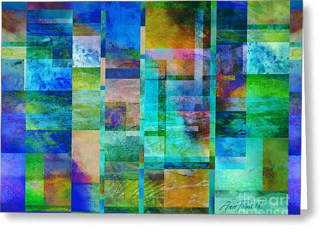 Geometric Digital Art Greeting Cards - Blue Squares abstract art Greeting Card by Ann Powell