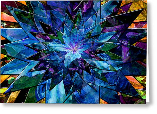 Burst Mixed Media Greeting Cards - Blue Star Lily Greeting Card by Michele  Avanti