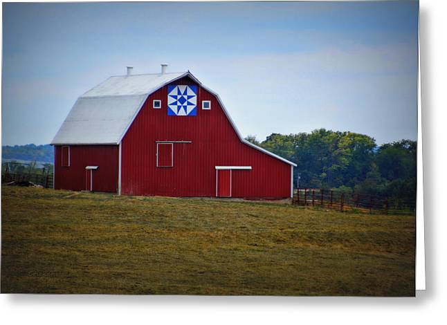 Blue Star Quilt Barn Greeting Card by Cricket Hackmann