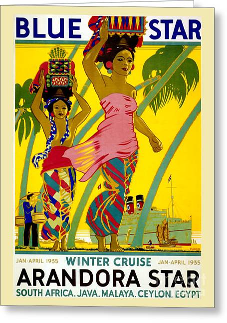 Traditional Drawings Greeting Cards - Blue Star Vintage Travel Poster Greeting Card by Jon Neidert