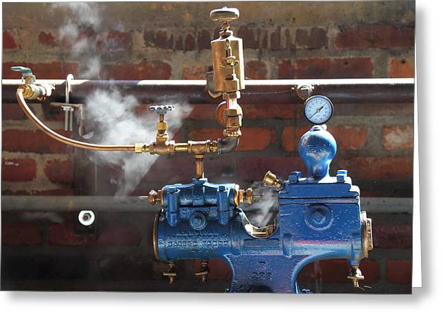 Brass Fittings Greeting Cards - Blue Steam Machine Greeting Card by Pat Williams