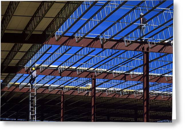 Steel Construction Greeting Cards - Blue Steel Greeting Card by Jerry McElroy