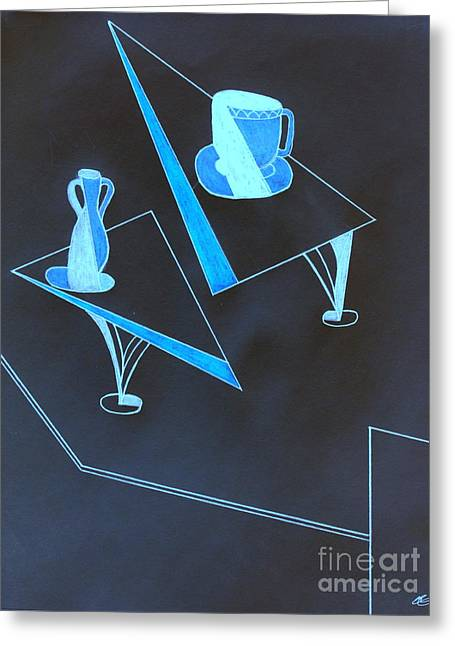 Jugs Pastels Greeting Cards - Blue Still Life Greeting Card by Bill OConnor
