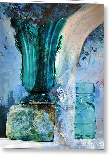 Water Jars Greeting Cards - Blue Still Life Flow Greeting Card by John Fish