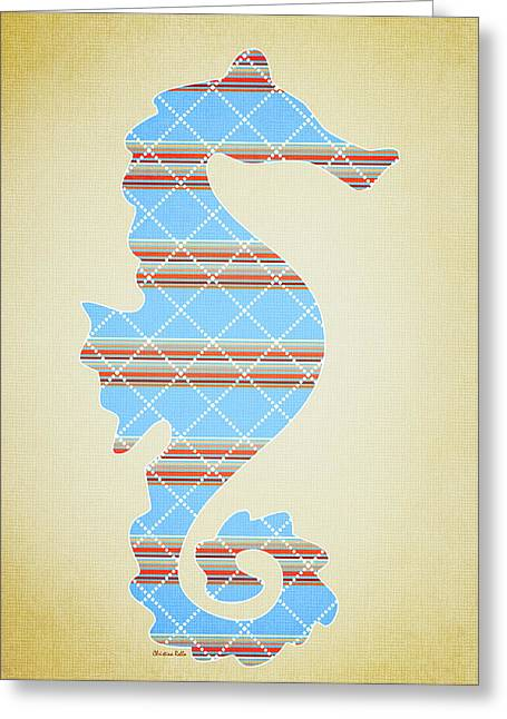 Blue Stripe Pattern Aged Greeting Card by Christina Rollo