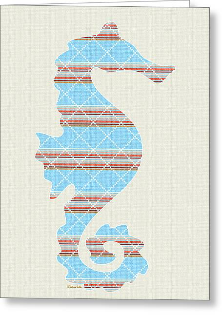 Decorative Fish Greeting Cards - Blue Stripe Pattern Art Greeting Card by Christina Rollo