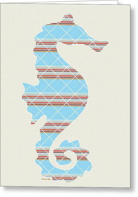 Blue Stripe Seahorse Art Greeting Card by Christina Rollo
