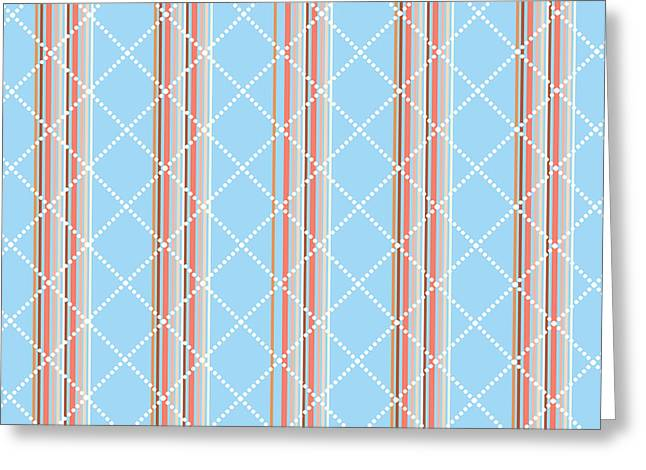 Blue Stripe Pattern Greeting Card by Christina Rollo