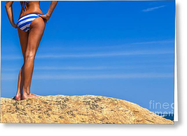 Sexy Young Woman Greeting Cards - Blue Striped Bikini Greeting Card by Diane Diederich