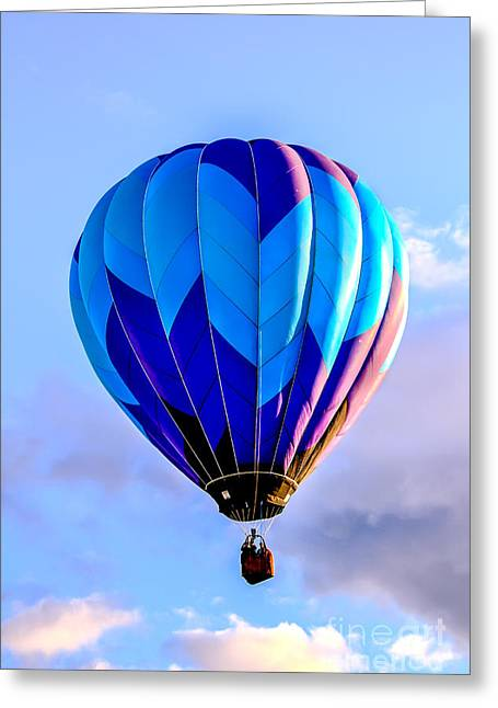 Blue Stripped  Balloon Greeting Card by Robert Bales