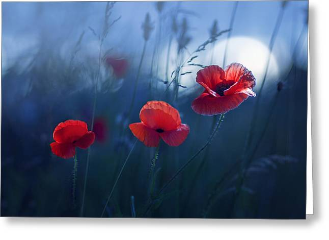 Mood Greeting Cards - Blue Summer Greeting Card by Magda  Bognar