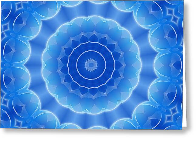 Geometric Effect Greeting Cards - Blue Sun Greeting Card by GP Images