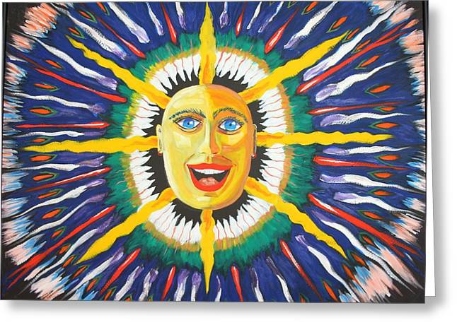 Prisma Colored Pencil Paintings Greeting Cards - Blue Sun Greeting Card by Ru Tover
