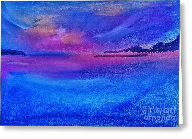 Michelle Pastels Greeting Cards - Blue sunset  Greeting Card by Michelle Hynes
