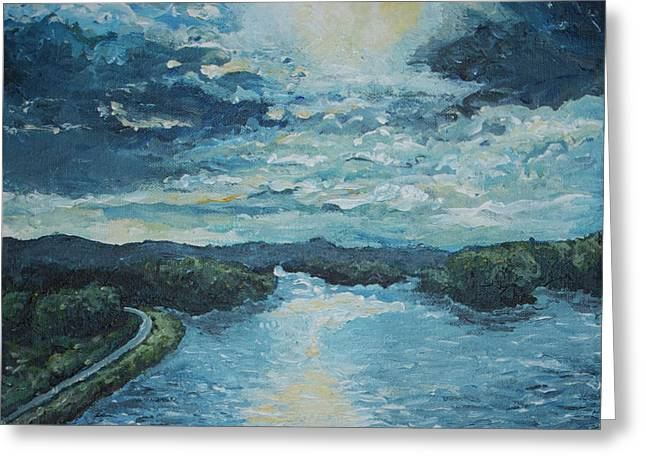 Roadway Paintings Greeting Cards - Blue Sunset Greeting Card by Monica Veraguth
