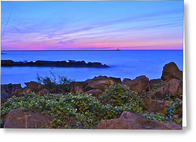 Spectacular Ocean Vistas Greeting Cards - Blue Sunset Greeting Card by Frozen in Time Fine Art Photography