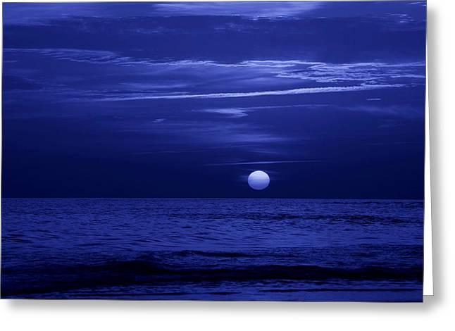 Blue Sunset Greeting Card by Sandy Keeton