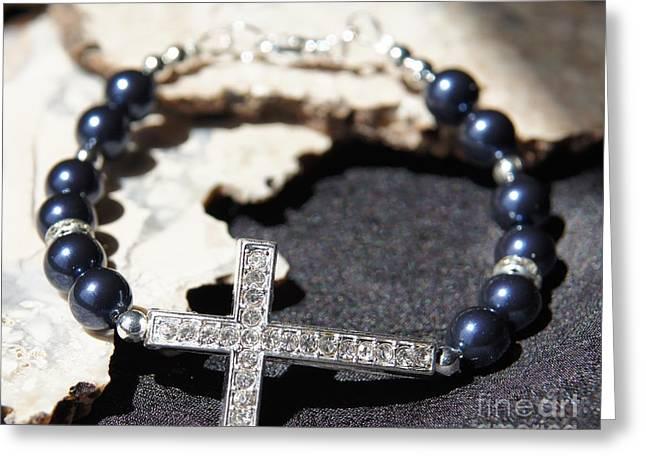 Cross Jewelry Greeting Cards - Blue Swarovski Pearl Cross Bracelet Greeting Card by Megan Cohen