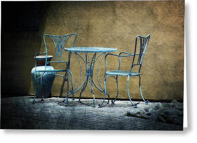 Lucinda Walter Greeting Cards - Blue Table and Chairs Greeting Card by Lucinda Walter