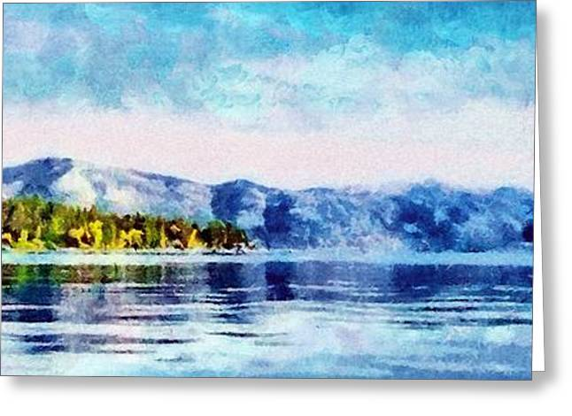 Reflected Greeting Cards - Blue Tahoe Greeting Card by Jeff Kolker