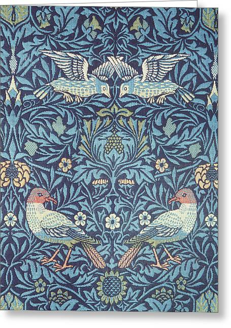 Wallpaper Tapestries Textiles Greeting Cards - Blue Tapestry Greeting Card by William Morris