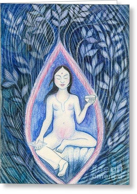 Coloured Pastels Greeting Cards - Blue Tara Inspiration Greeting Card by K Prager