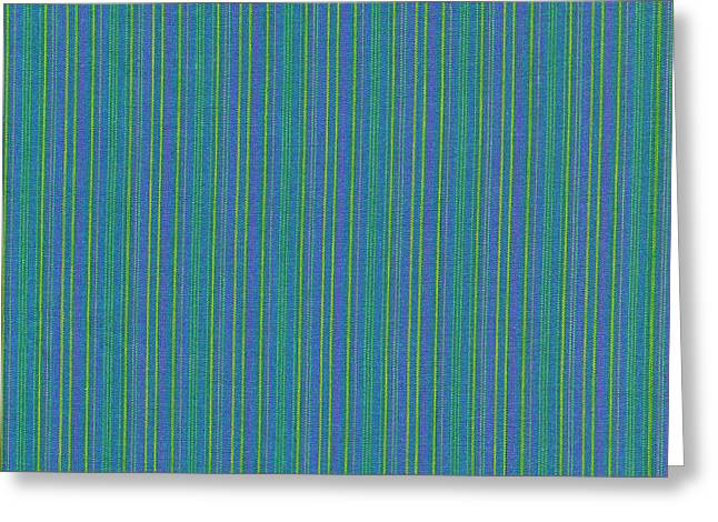 Cloth Greeting Cards - Blue Teal And Yellow Striped Textile Background Greeting Card by Keith Webber Jr