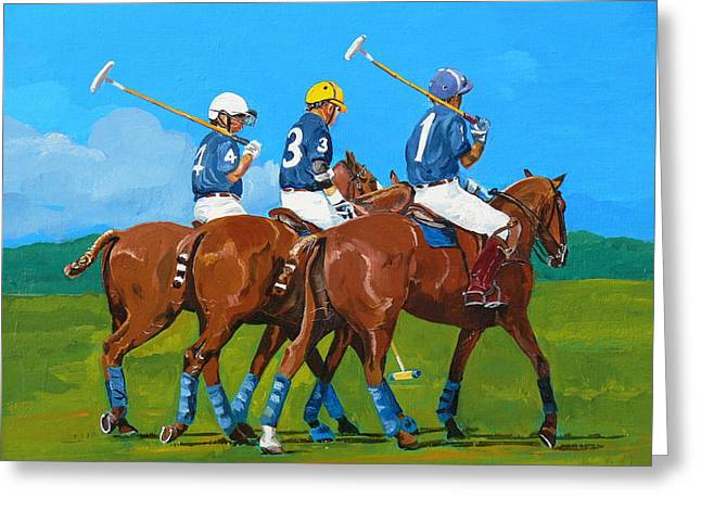 Andalusian Greeting Cards - Blue Team Greeting Card by Janina  Suuronen