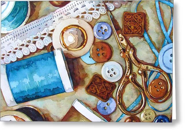 Blue Thread Greeting Card by Wendy Westlake