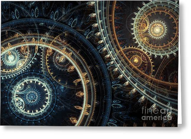 Industrial Concept Digital Art Greeting Cards - Blue time Greeting Card by Martin Capek